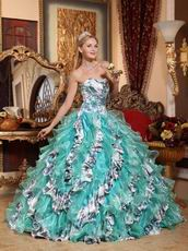 Turquoise And Porcelain Printed Cascade Quinceanera Dress