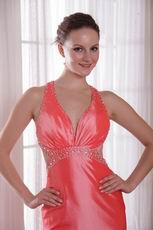 Cross Back Waltermelon Prom Party Dress With Watteau Train