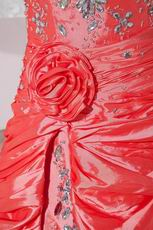 Crystal Coral Pink Asymmetrical Buy Pageant Evening Dresses