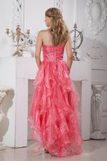 Inexpensive Cascade Skirt Pink Organza Cocktail Party Dress