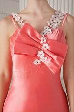 Spaghetti Straps Column Skirt Beaded Watermelon Prom Dress Petite