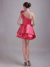 Designer Coral Red Short Prom Dress With One Shoulder Layers Skirt
