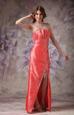 Strapless High Low Design Orange Red Special Occasion Dress