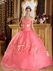 Stylish Watermelon Quinceanera Dress With Bowknot Design