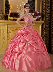 Classical Waltermelon Tafftea Quinceanera Dress With Halter Design