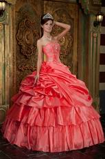 Watermelon Unique Layers Skirt Quinceanera Designer Dress