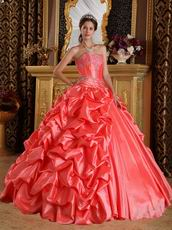 Side Bubble Coral Dress 2014 Winter Quinceanera Wear