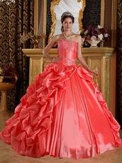 Side Bubble Coral Dress 2014 Winter Quinceanera Wear