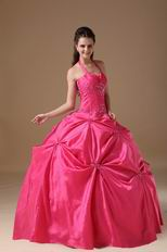 Halter Top Coral Red Puffy Quinceanera Dress Not Expensive