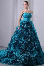 Gorgeous Teal Blue Taffeta Quinceanera Dress With Chapel Train