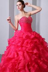 Sweetheart Hot Pink Cascade Fuchsia Organza Ball Dress