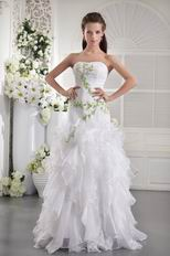 White Strapless Dress With Leaves Decorate Quinceanera Dress