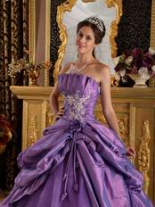 Medium Purple Quinceanera Dress With Applique Emberllishments