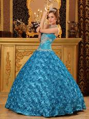 Teal Rolled Flowers Fabric Quinceanera Dress At Cheap Price