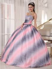 Vogue Ombre Contrast Pink Fabric 16 Years Old Quinceanera Dress