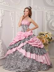 Romantic Pink Taffeta Quince Dress With Zebra Layers Skirt
