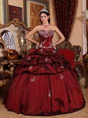 Burgundy Puffy Skirt Quinceanera Dress For 16th Birthday Party