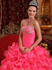 Ruffled Floor Length Skirt Hot Pink Quinceanera Dress Discount