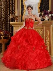 Scarlet Quinceanera Dress Customized With Gold Applique