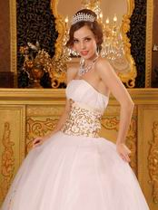Fitted White Ancient Palace Ball Dress With Gold Embroidery