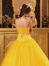 Bright Gold Yellow Quinceanera Dress With Spaghetti Straps