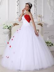 Princess Puffy White Quinceanera Dress With Wine Red