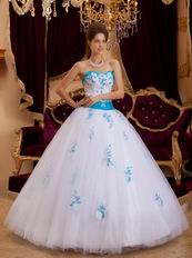 Elegant Trimed White Prom Ball Gown With Azure Blue Applique