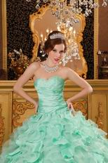 Sweetheart Pale Green Ruffled Ball Gown Winter Quinceanera Dress