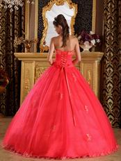 Coral Red Quinceanera Dress Design With Appliqued Halter Ball Gown