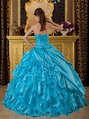 Sweet heart Ruffles Skirt Aqua Blue Sale Quinceanera Gown
