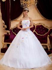 Cute Quinceanera Dress With Colorful Butterflys Design Decorate
