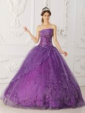Strapless Purple Quinceanera Dress With Beaded Embroidery