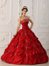 Wine Red Embroidery Young Women Quinceanera Strapless Dress