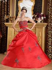 Crimson Red Embroidered Coming-of-age Ceremony Dress