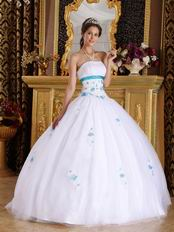 Strapless White Tulle Elegant Adult Ceremony Ball Gown