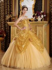Pretty Golden Sequin Corset Back Adult Ceremony Girls Dress