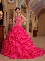 Spaghetti Straps Hot Pink 2014 Embroidery Quinceanera Dress