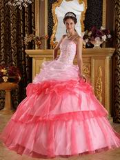 Gradient Color Contrast Pink Single Shoulder Quinceanera Gown