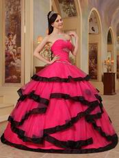 Rose Pink Corset Back Top Quinceanera Dress With Black Bordure