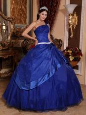 Sapphire Blue Puffy Skirt Quinceanera Dress Single One Shoulder