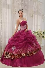 New Fashion Ruby Red Sweetheart Quinceanera Dress With Leopard Fabric