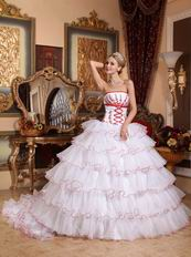Detachable Train Design Cascade Skirt White Quinceanera Dress