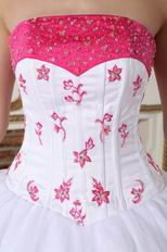 Deep Pink Embroidery And Bordure White Evening Ball Dress