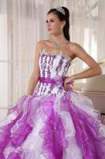 Purple And White Ombre Color Organza Fabric Quinceanera Dress Cheap