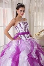 Purple And White Ombre Color Organza Fabric Quinceanera Dress Cheap