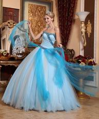 Contrast Color Aqua And WhiteSkirt Clearance Quinceanera Dress