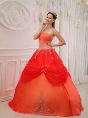 Strapless Puffy A Skirt Quinceanera Dress In Orange Red