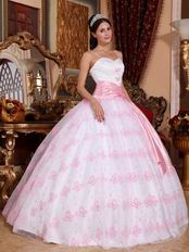 Spaghetti Straps Butterfly Design Baby Pink Quinceanera Dress