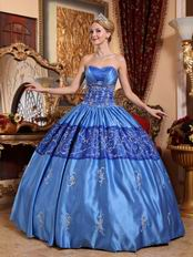 Royal Blue Embroidery Quinceanera Dress To Girl