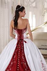 White Quinceanera Dress With Wine Red Embroidery Details